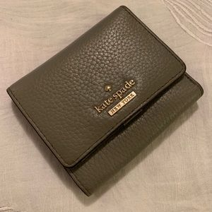 Kate Spade Grey Leather Trifold Wallet